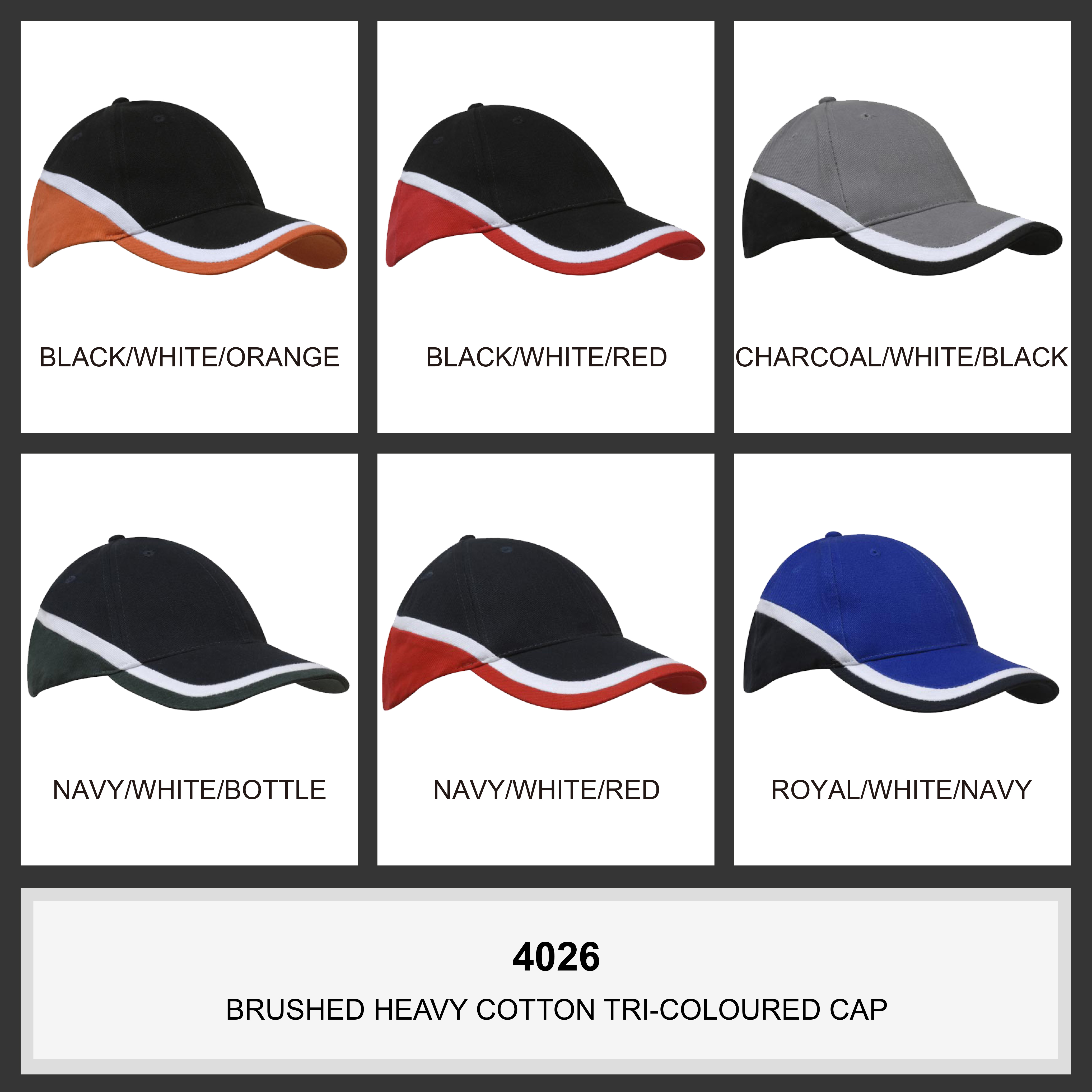 Brushed Heavy Cotton Tri-Coloured Cap (4026) 2     Promotion Wear