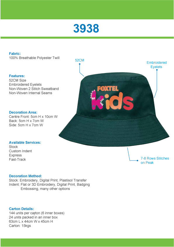 Breathable Poly Twill Infants Bucket Hat(3938) 1 | | Promotion Wear