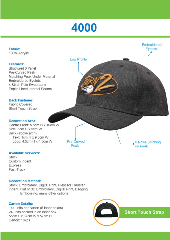 Premium American Twill Cap (4000) 1     Promotion Wear