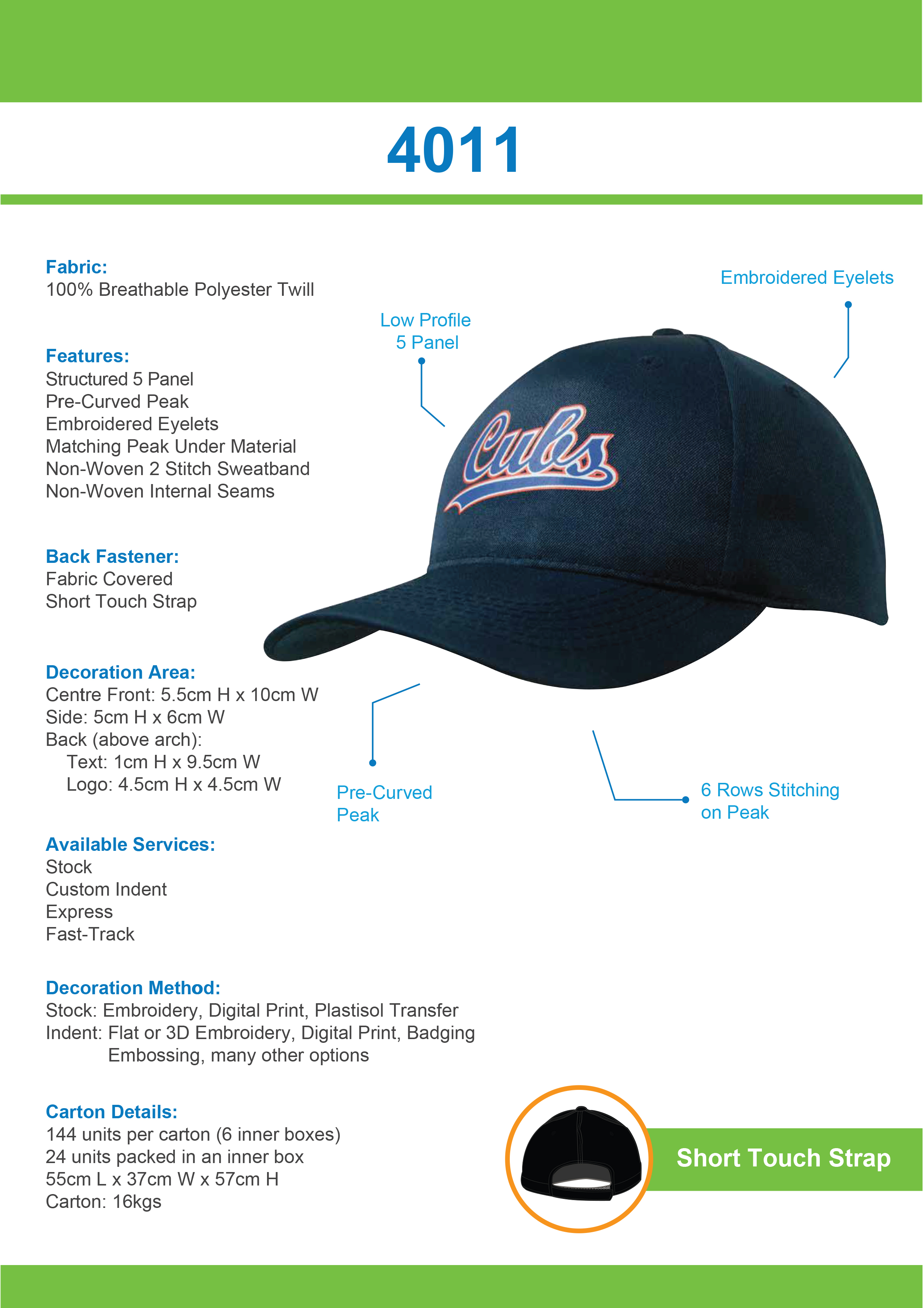Breathable Poly Twill Cap (4011) 1 | | Promotion Wear