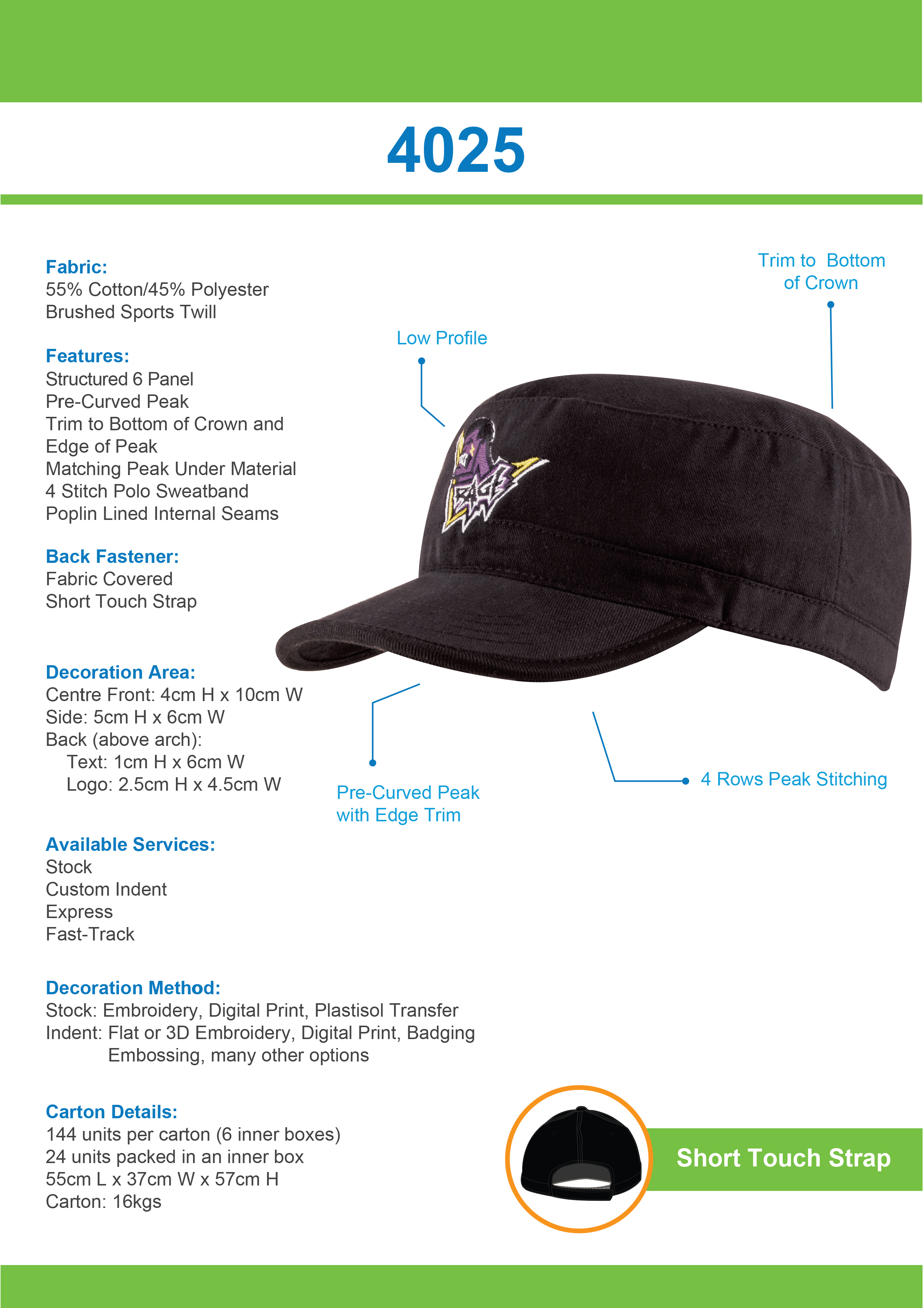 Sports Twill Military Cap (4025) 1 | | Promotion Wear