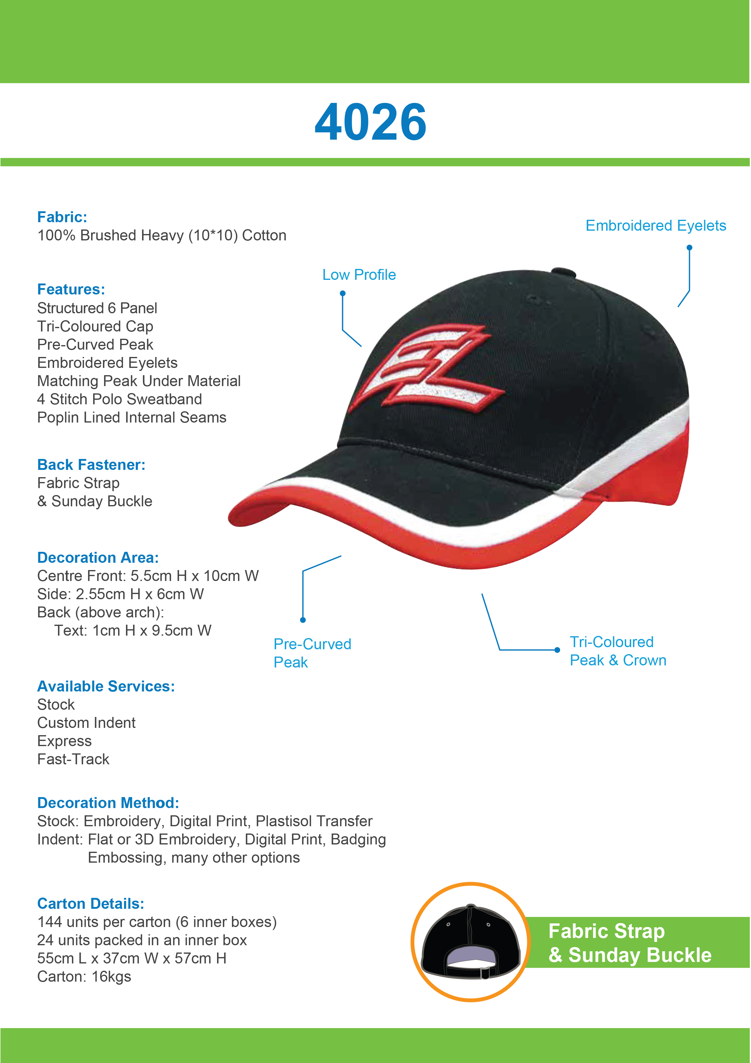 Brushed Heavy Cotton Tri-Coloured Cap (4026) 1     Promotion Wear